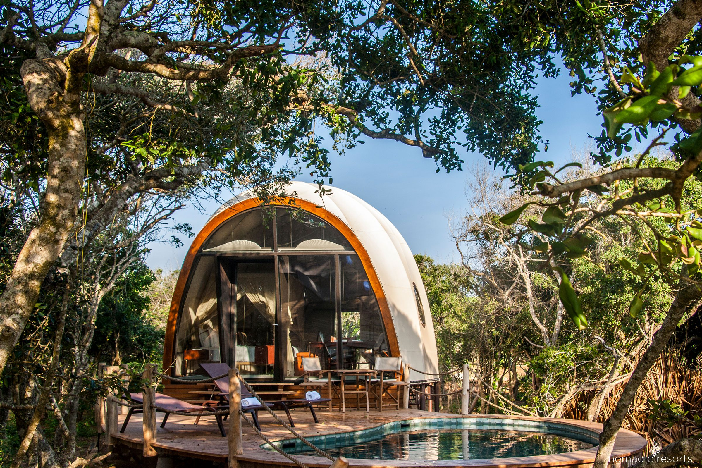 Cocoon suite exterior at Wild Coast Tented Lodge, Sri Lanka